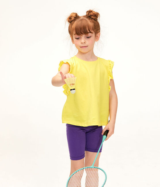 Girls' Cycling Shorts Real purple / Or yellow