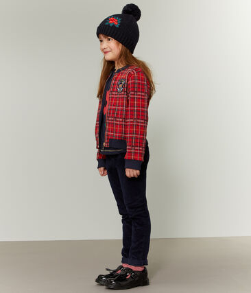 Girls' Tartan Baseball Jacket Terkuit red / Multico white