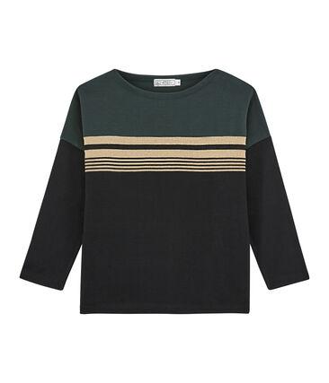 Women's Fashion Stripe Sweater Noir black / Multico white