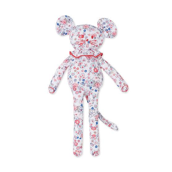 Doudou bébé souris imprimé Ecume white / Gretel pink