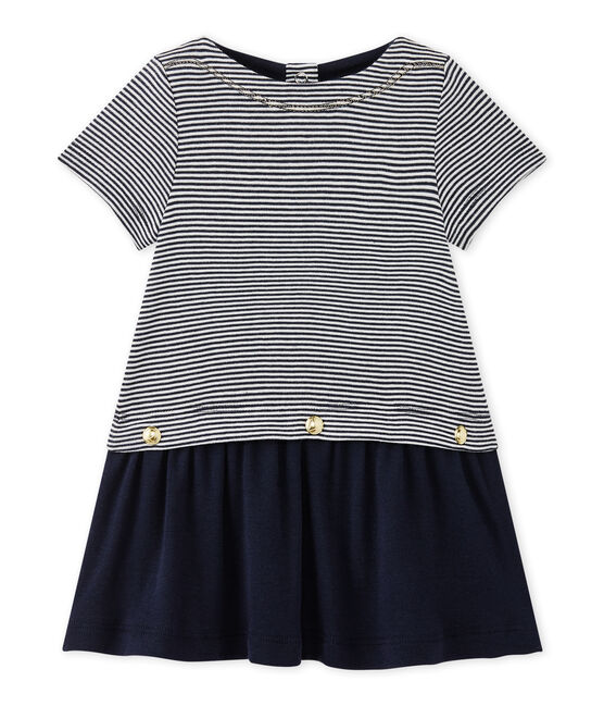 Baby girl's milleraies-striped dress Smoking blue / Lait white