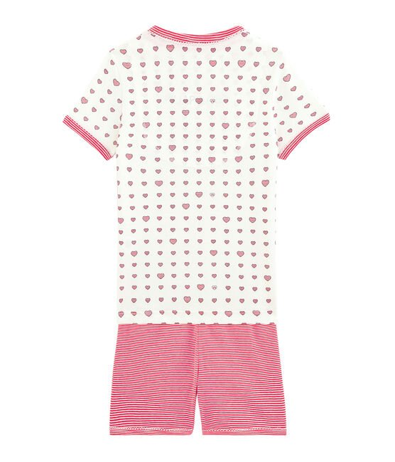 Girls' Ribbed Short Pyjamas Marshmallow white / Multico white