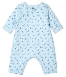 Unisex Baby's Long Tube Knit Bodysuit Fraicheur blue / Multico white