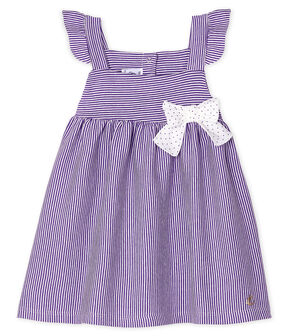 Baby Girls' Pinstriped Dress Real purple / Marshmallow white