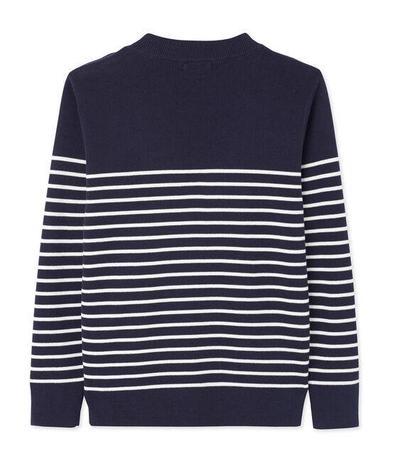 men's sailor jumper with placed stripe Smoking blue / Lait white