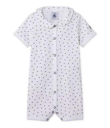 Baby girl's footless sleepsuit with heart print Ecume white / Medieval blue