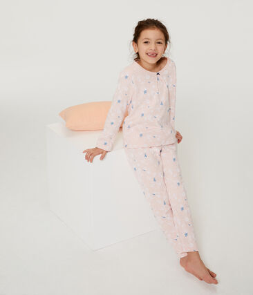 Girls' Fleece Pyjamas Minois pink / Multico white