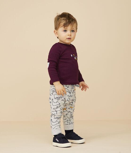 Baby boy's tubular knit trousers Beluga grey / Multico white