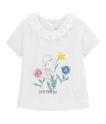 Baby Girls' Plain T-shirt Marshmallow white / Multico white