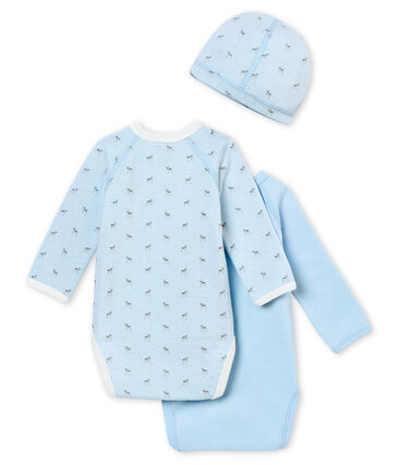 A newborn's gift set with two long sleeved bodysuits and a hat
