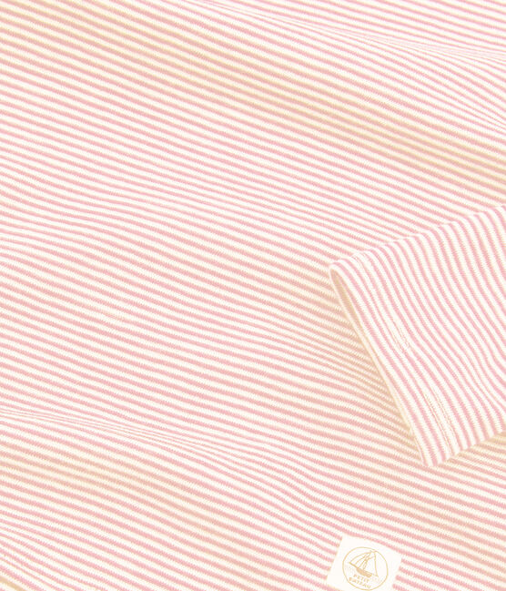 Girls' Pinstriped Long-Sleeved Wool and Cotton T-Shirt Charme pink / Marshmallow white