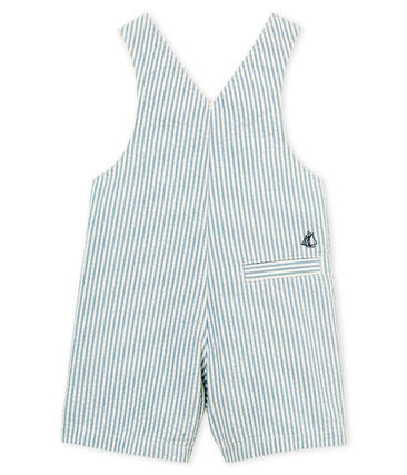 Baby boys' striped short dungarees Fontaine blue / Marshmallow white