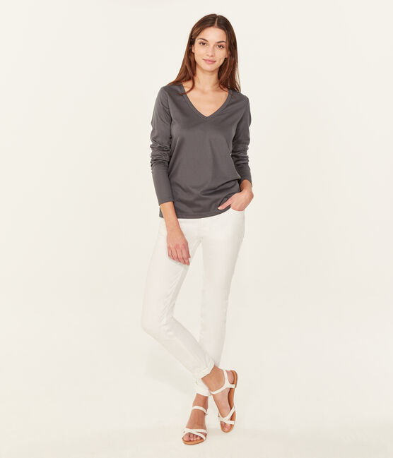 Women's long-sleeved sea island cotton t-shirt Maki grey