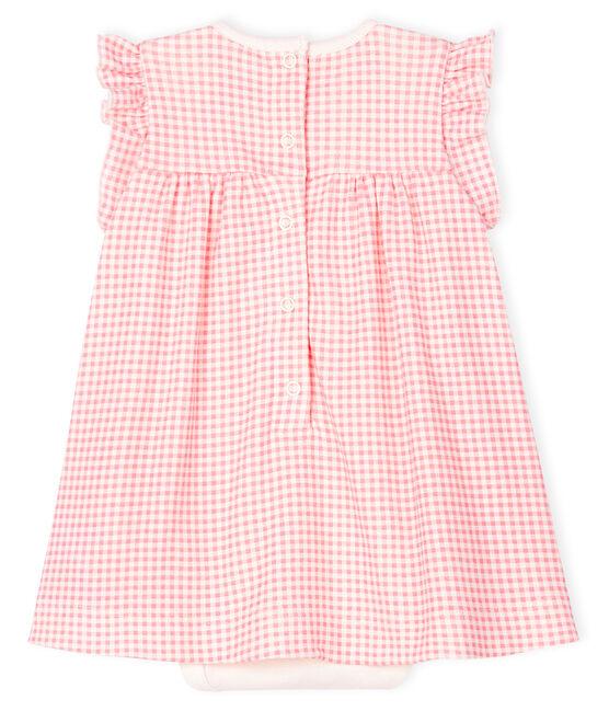 Baby girl's pink gingham bodysuit dress in cotton Marshmallow white / Gretel pink