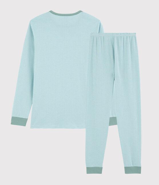 Unisex Blue Stripy Ribbed Pyjamas Tiki blue / Marshmallow white
