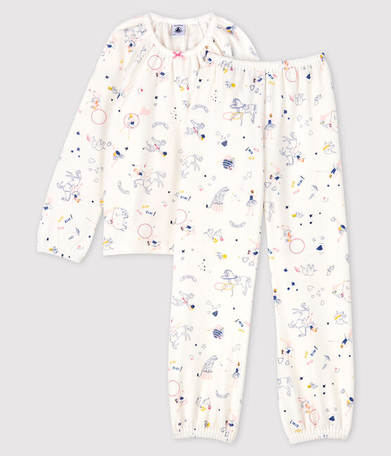 Girls' Fairytale Print Velours Pyjamas Marshmallow white / Multico white