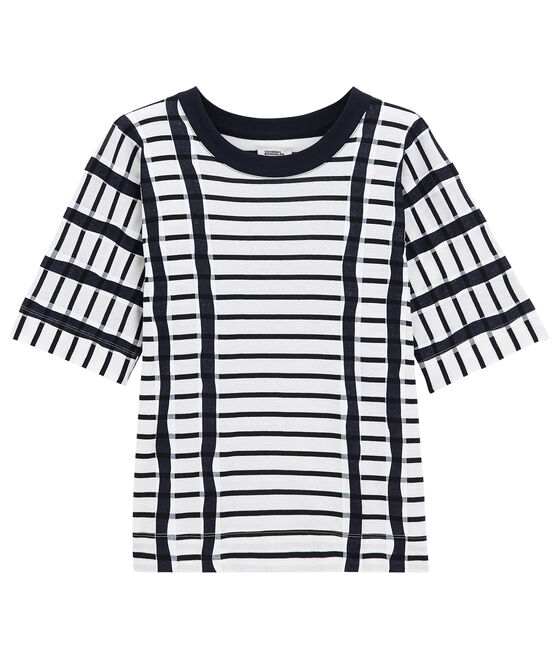 T-shirt with stripes Marshmallow white / Smoking blue
