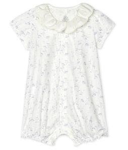 Baby Girls' Poplin Playsuit Marshmallow white / Multico white