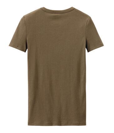 Women's T-shirt in heritage rib Shitake brown