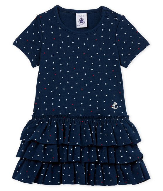 Baby girls' printed dress Haddock blue / Multico white
