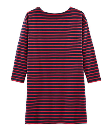 Women's Long-Sleeved Dress Smoking blue / Signal red