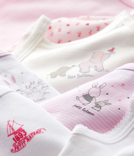 Surprise pack of 7 bodysuits with straps for baby girls . set