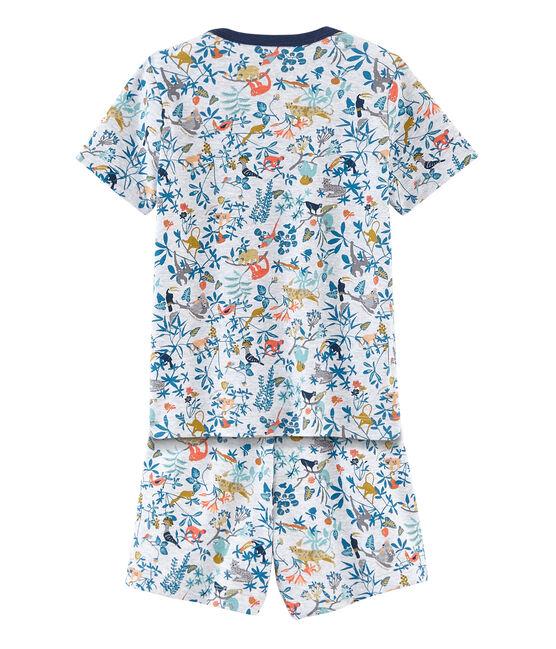 Boys' short Pyjamas Poussiere grey / Multico white