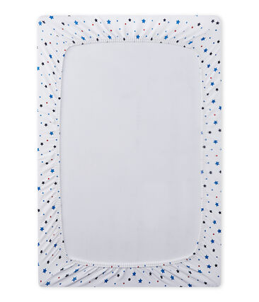 Baby boy's fitted crib sheet with stars Ecume white / Multico white