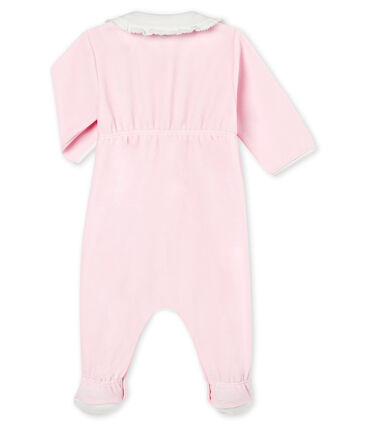 Baby girl's plain cotton velour sleepsuit Vienne pink