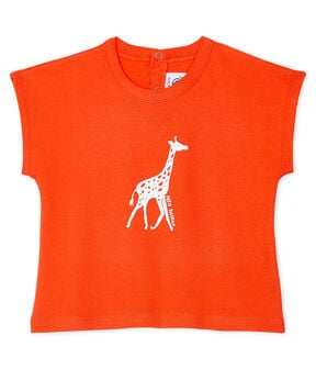 Short-sleeved T-shirt for baby boys Spicy orange