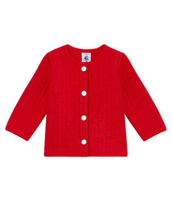 Baby girls' cardigan in quilted tube knit Terkuit red