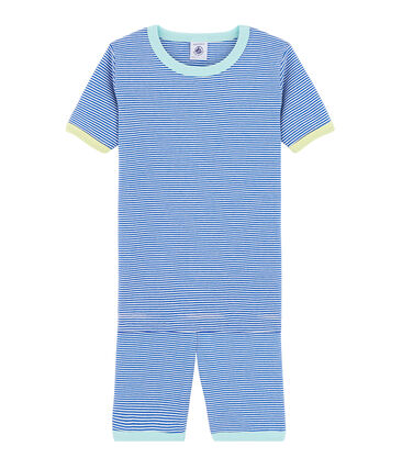 Boys' Snugfit Short Pyjamas Pablito blue / Marshmallow white