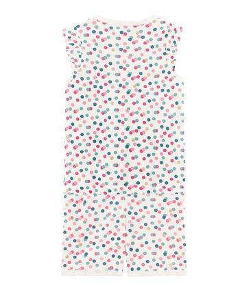 Girls' cropped ribbed pyjamas Marshmallow white / Multico white