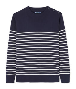 Men's Sailor Pullover with Stripe Design Smoking blue / Lait white
