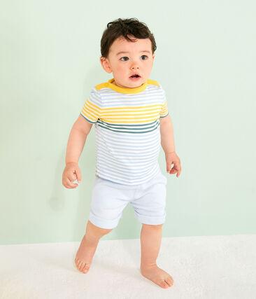 Stripy T-shirt for baby boys Marshmallow white / Multico white