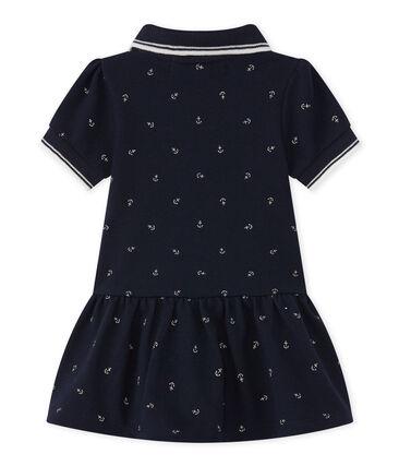 Baby girl's short-sleeved dress Smoking blue / Feta white