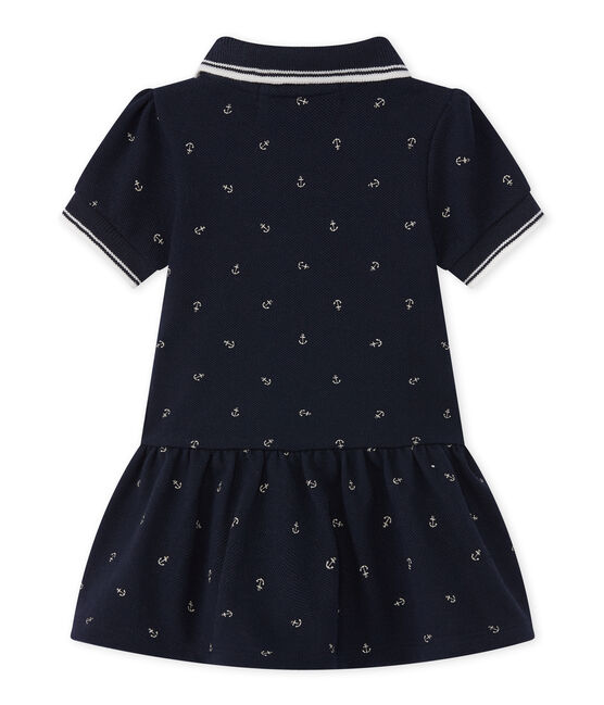 Baby girl's short-sleeved dress Smoking blue / Feta white
