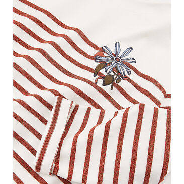 Women's long-sleeved stripy breton top Marshmallow white / Copper pink