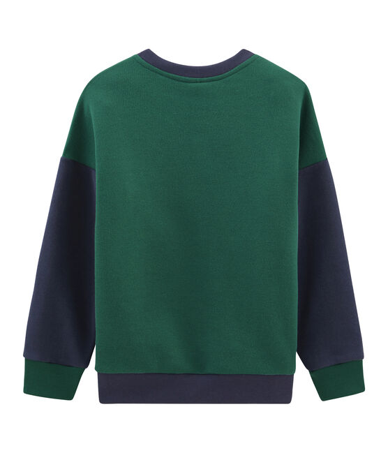 Boy's Sweatshirt Sousbois green / Smoking blue