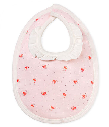 Baby girls' printed bib Vienne pink / Multico white