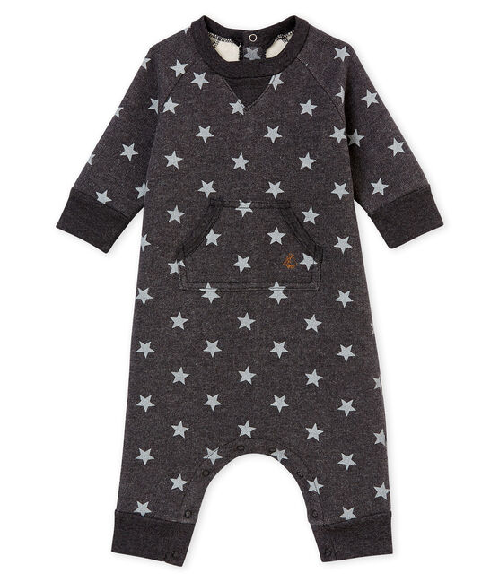 Baby boy's long print snowsuit City black / Gris grey