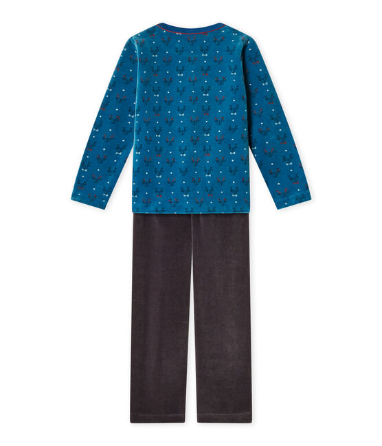 Boy's terry velour pyjamas Capecod grey / Contes blue