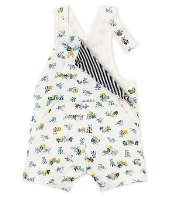 Baby boys' short dungarees in printed jersey Marshmallow white / Multico white
