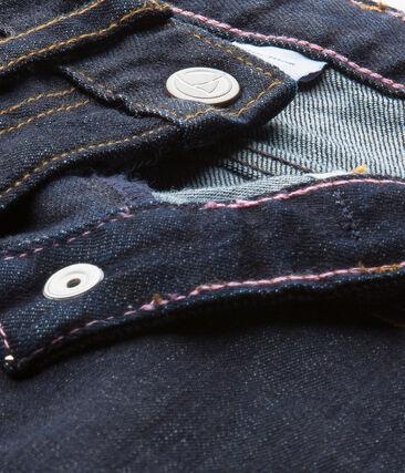 Girls' trousers in dark denim Jean blue