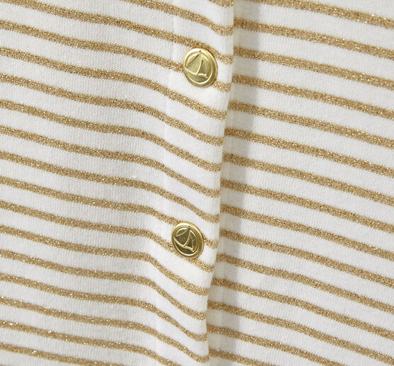 Girl's striped cardigan Marshmallow white / Em Dore brown