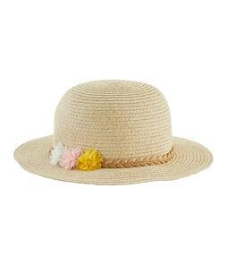 Straw hat for girls Marshmallow white