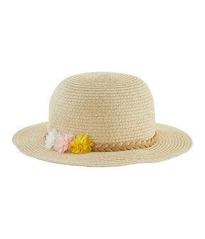 Straw hat for girls Marshmallow white