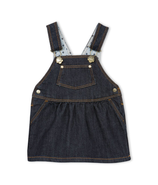 Baby girls' jean dungarees/dress. Jean blue