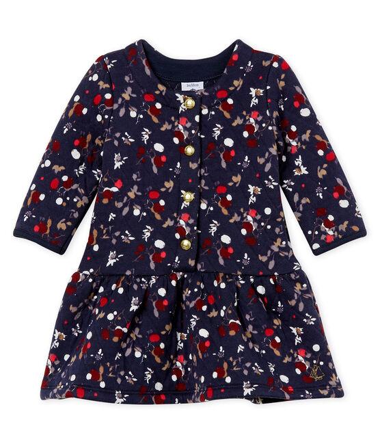 Baby girl's print dress Smoking blue / Multico white