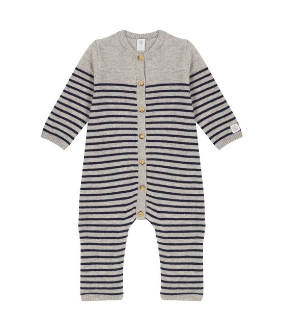 Babies' Long Jumpsuit in 100% Cashmere Subway grey / Smoking blue